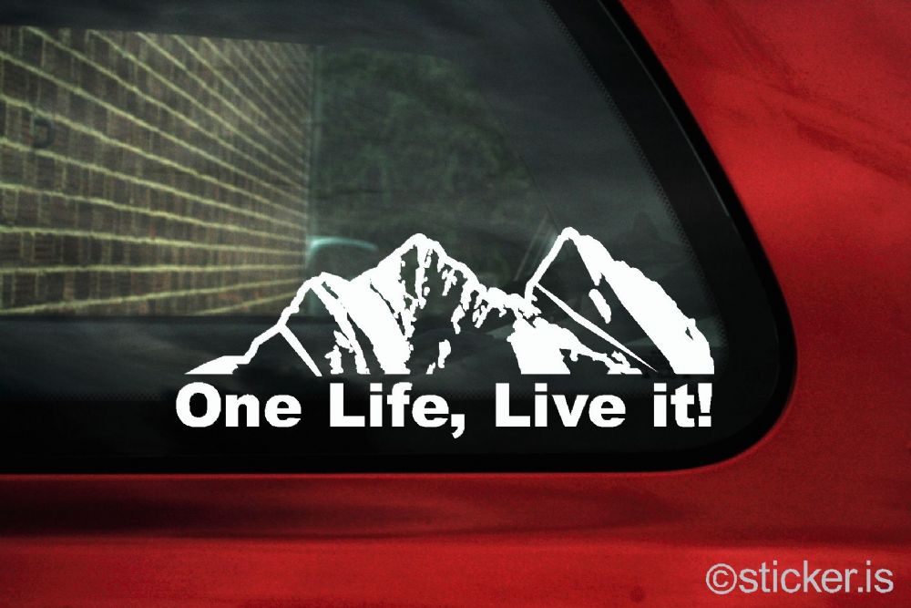 One Life Live it Mountain silhouette offroad truck sticker